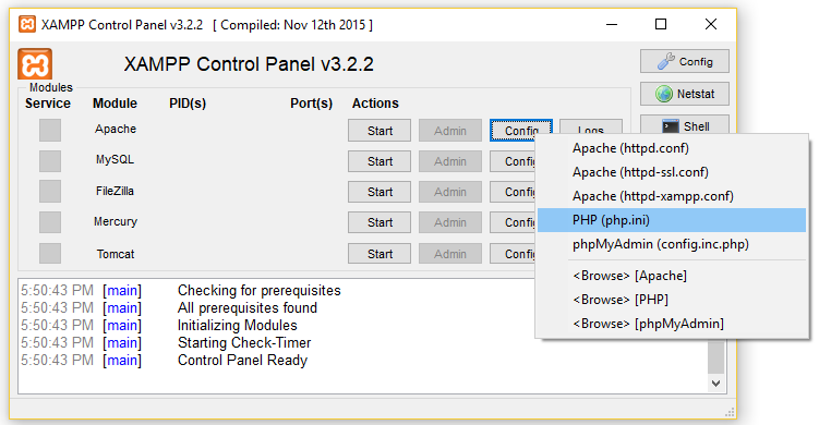 Adding code to php config file