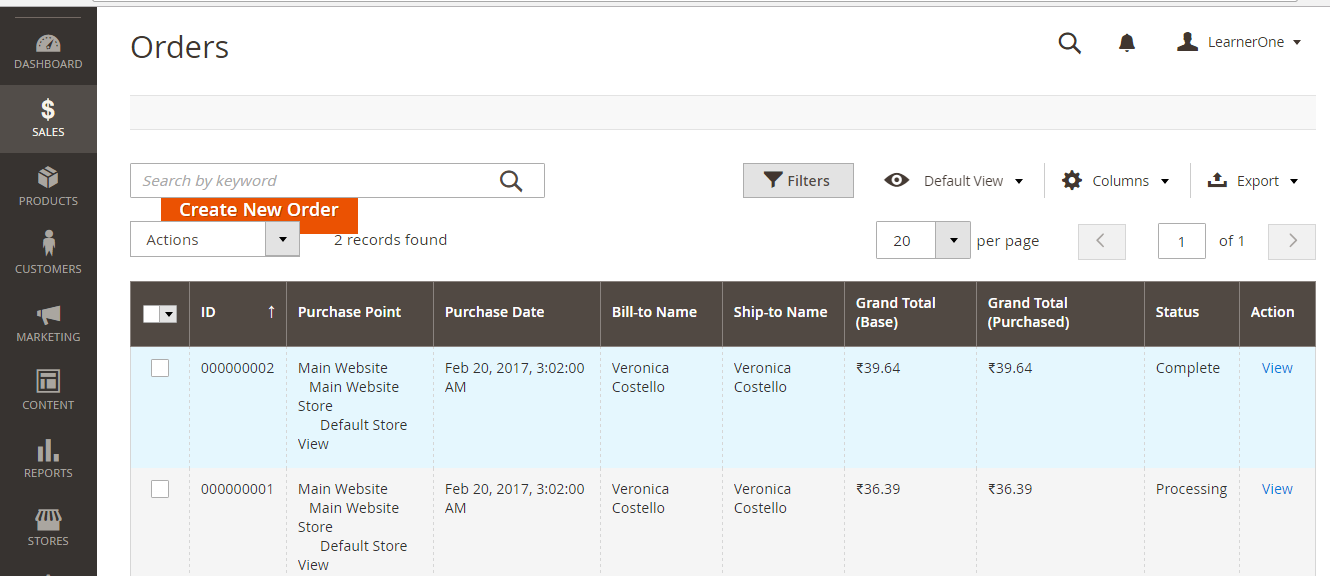 All Magento product orders visible