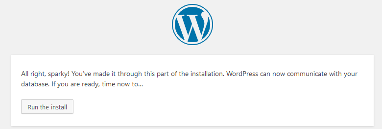 Click Run the Install to install WordPress