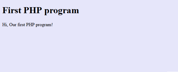 PHP First program Output