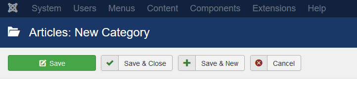 Joomla Categories Toolbar