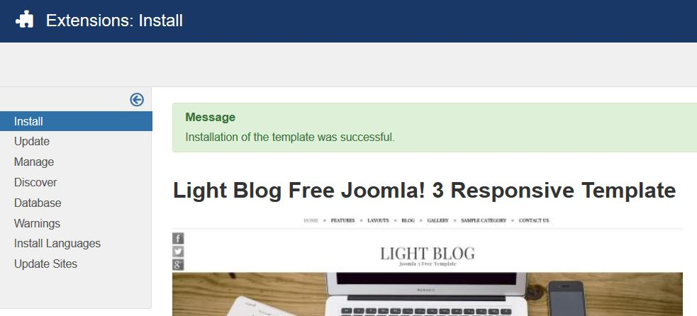 How to install new joomla template
