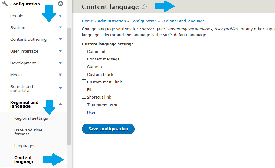 Language setting for your site