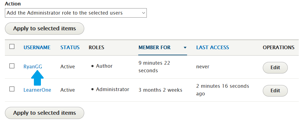 New Drupal user RyanGG added with User role Author