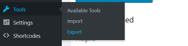 Reach WordPress Export Tools Section