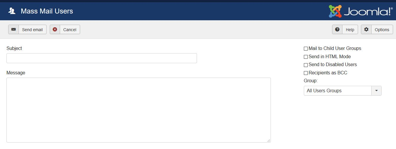 Sending email with Joomla Mass Mail Users section