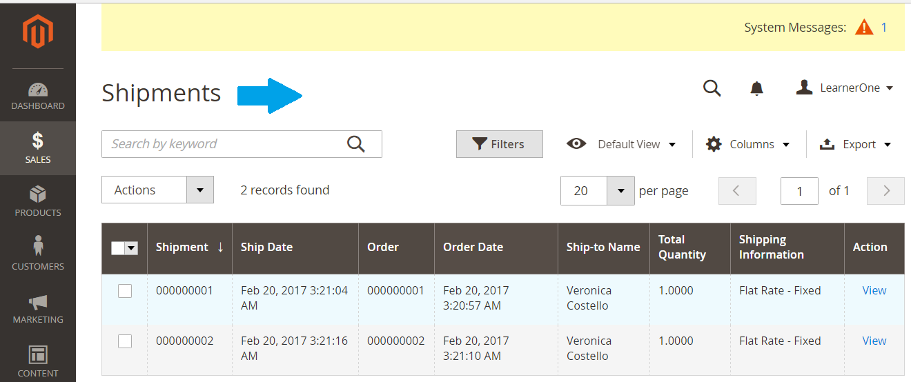 Shipment Information for Magento Store products