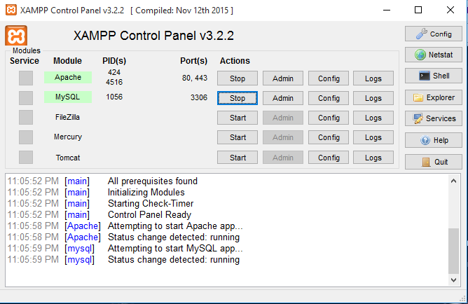 Start Apache & MySQL from XAMPP Control Panel