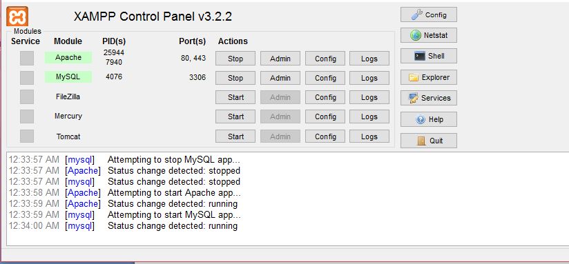 Starting Apache and MySQL on XAMPP