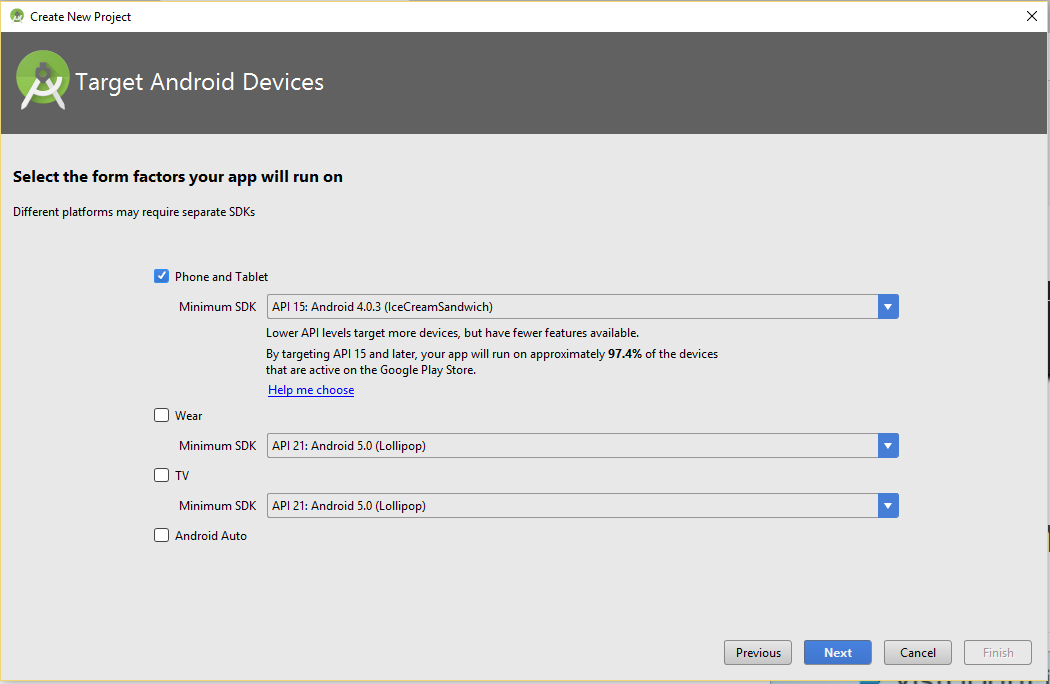 Target Android devices for your app