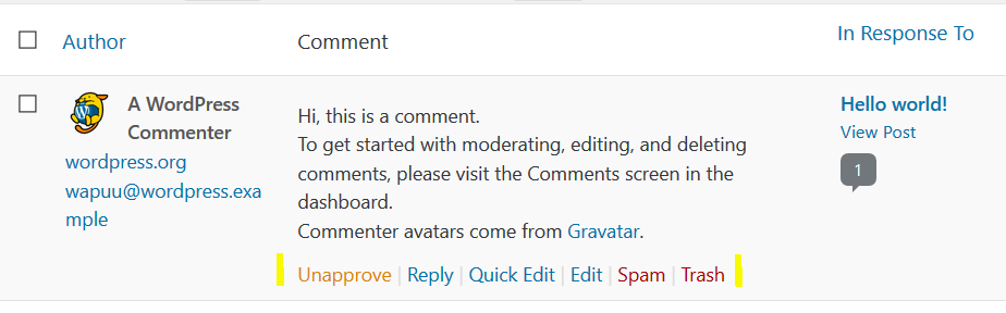WordPress Comments Options