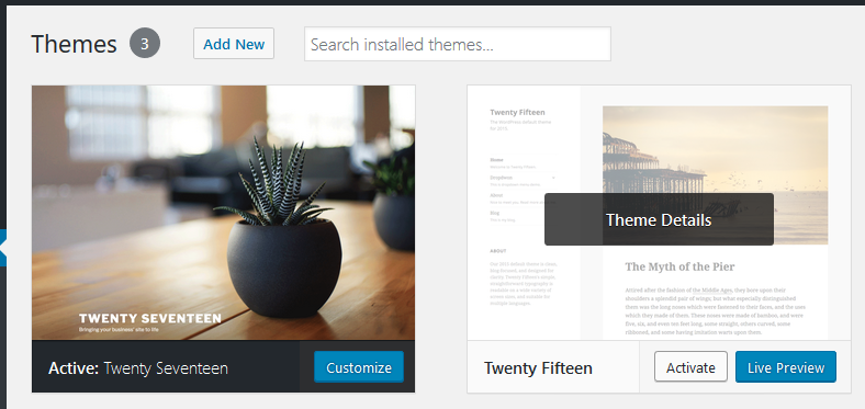 WordPress Themes section