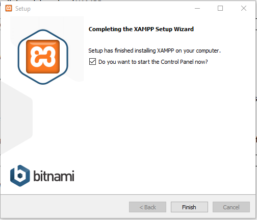 XAMPP installation completes & select Start Control Panel