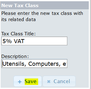 Add New Tax Class for osCommerce store