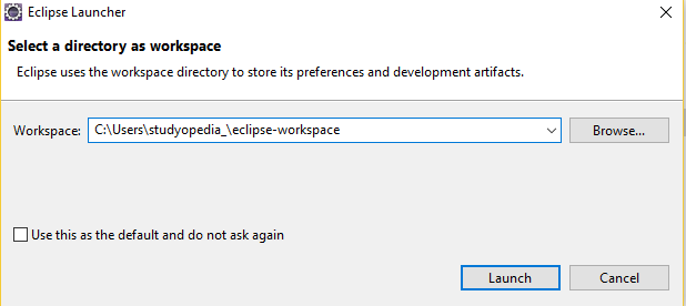 Eclipse IDE Workspace directory