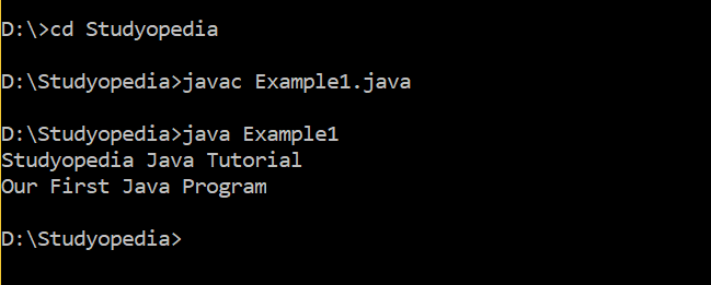 Java First Program Output