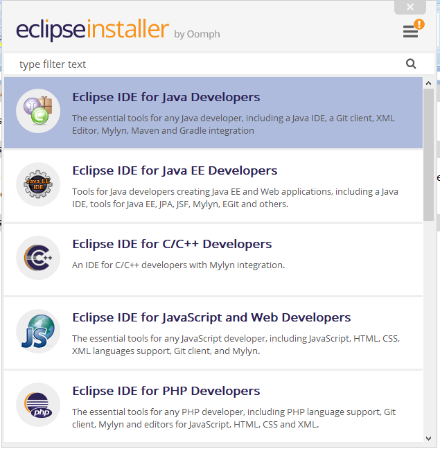 Selecting Eclipse IDE for JAVA Developers