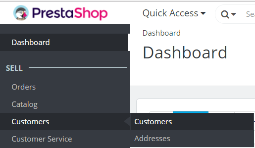 Reaching PrestaShop Store Customer section